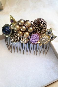 Vintage Upcycled Rhinestone Owl Haircomb by bluehoneyjewelry
