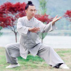 À Manches longues Mâle Linge À La Main Tai Chi Uniforme Wushu, Kung Fu, shaolin Formation Costume Couleur Gris, vert, brun, vin(China (Mainland))