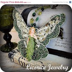 Green ABSINTHE  Fae Fairy Huge Statement Ncklace by LicoriceJewelry