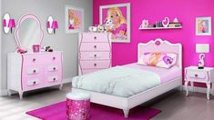 Barbie Bedroom - Every Girl's Dream! Girls love Barbie and what better way to make them feel like one than to create them a perfect Barbie bedroom. Pink Bedroom Design, Pink Bedroom For Girls, Kids Bedroom Sets, Small Bedroom Designs, Pink Room, Design Room, Bedroom Colors, 6 Year Old Girl Bedroom, Teen Bedroom