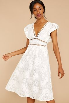 Out For Love White Lace Dress - Christmas-Desserts White Long Sleeve Dress, White Dress, Short Sleeve Dresses, Dresses With Sleeves, Dress Long, White Cocktail Dress, Lace Midi Dress, Dresses For Teens, Lace Sleeves