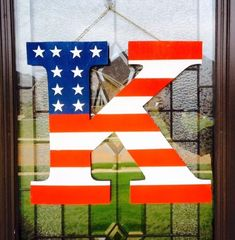 Your home or apt will be a show stopper with this beautiful handmade patriotic letter on your front door. Everyone will want to know where on earth did you find such a unique piece. Show off your patr Summer Crafts, Holiday Crafts, Blue Crafts, Patriotic Crafts, Patriotic Flags, 4th Of July Decorations, Birthday Decorations, Door Hangers, Fourth Of July