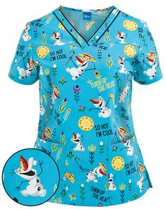 Cherokee Tooniforms Scrubs Turn Up The Heat Print Top - the kids would love this!!
