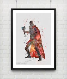 Thor Watercolor Art Poster Print Marvel SuperHero by VIVIDEDITIONS