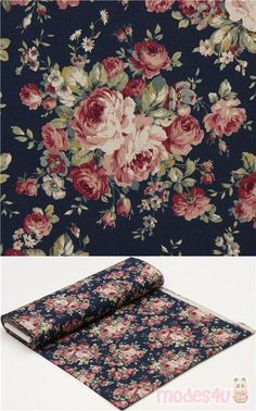 "dark blue-green canvas fabric with roses, leaves, Material: 80% cotton, 20% linen, Fabric Type: smooth canvas fabric, Pattern Repeat: ca. 30cm (11.8"") #Canvas #Flower #Leaf #Plants #Valentine'sDay #JapaneseFabrics"
