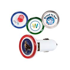 The Custom Branded Colorful Car Charger can charge your devices on the go! This charger has dual ports and a LED ring that helps illuminate the logo area in the dark. It is compatible with all USB charging cables including mobile phones, MP3, MP4, iPod®, iPhone®, iPad®,GPS, digital camera, etc.