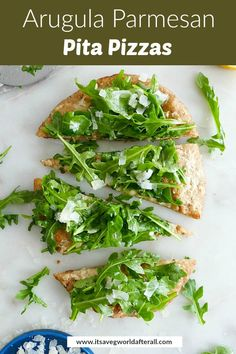 Arugula Parmesan Pita Pizzas - a 15 minute pizza recipe with only 5 ingredients! Make pizza night easy at your house with this healthy spring-inspired recipe that just as flavorful as it is pretty. Vegetable Appetizers, Healthy Vegetable Recipes, Healthy Pizza, Healthy Vegetables, Vegetarian Recipes, Parmesan, Argula Recipes, Lettuce Recipes, Pita Pizzas