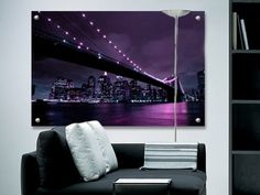 Aubergine New York perspex art. Glass look artwork. Contemporary art in any size or colour. Art ideal for bathrooms and swimming pools. Brooklyn Bridge, Home Accessories, Love Seat, Cool Art, Swimming Pools, Contemporary Art, New York, Canvas Prints, Glass