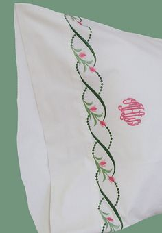 Pink and green. A Touch of Lace   Custom Embroidery