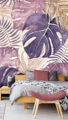 Stunning Tropical Leaves wall mural by Di Brookes Wallsauce. This high quality Tropical Leaves wallpaper is custom made to your dimensions. This image is Di Brookes If you're looking for a stunning feature wall for your bedroom, look no further! Painted Window Frames, Feature Wall Bedroom, Wall Wallpaper, Leaves Wallpaper, Bedroom Wallpaper, Wallpaper Jungle, Tropical Home Decor, Tropical Furniture, Tropical Wallpaper