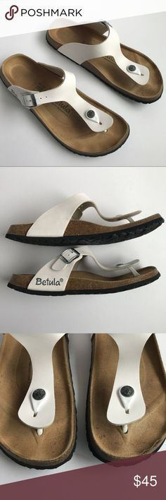 Betula by Birkenstock White Thong sandals 40 These Betula by Birkenstock thong sandals are in good used condition.  Size 40 which, according to their website, is a US size 9-9.5. (The Posh app fills in a bigger size, so I marked the size according to the website!  Check the sizing carefully to insure best fit.) They are a narrow as indicated by the filled in foot.  There is one mark on the toe where it looks like someone stubbed their toe. Birkenstock Shoes Sandals