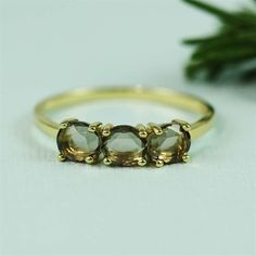 Handmade Gold Three Smoky Quartz Band Ring
