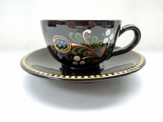 Folk Art Cup Saucer Large Hand Painted Glazed Pottery Majolica Switzerland Swiss Wedding Anniversary Birthday Bridal Shower Christmas Gift by Passion4Europe on Etsy