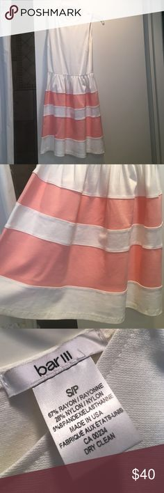 Pink and white dress WORN ONCE white and pink summery dress! Great for graduations and other events. Very comfortable, made of Rayon and Nylon Bar III Dresses Midi