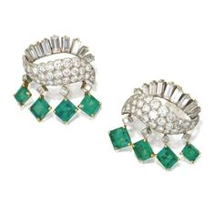 Pair of emerald and diamond earclips, Cartier, Paris. photo Sotheby's    Emerald-cut emeralds weighing approximately 7.50 carats, round, single-cut, square-cut and baguette diamonds weighing a total of approximately 8.50 carats, mounted in platinum,