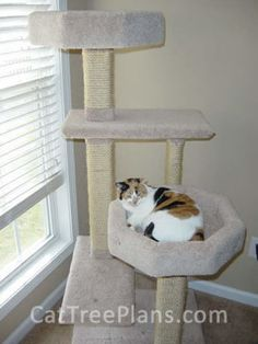 Cat Tree Plan #7 - Jemina Cat House with V Perch | DIY Cat Stand ...