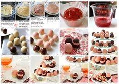 Trufas de chocolate com Massa de Biscoito//   Para a massa de biscoito:      1 ½  barras/pote de manteiga sem sal (339 g)     1 xícara de açúcar em pó (108 g)     extrato de baunilha 1 colher de chá (4 g)     ½ colher de chá de sal (4 g)     3 xícaras de farinha de trigo (339 g)     1 xícara de chips de mini-semi-doce de chocolate