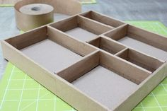 Divided Cardboard Box Tutorial - check the site Cardboard Furniture, Cardboard Crafts, Paper Crafts, Craft Storage, Storage Boxes, Altered Boxes, Box Art, Shadow Box, Diy Projects