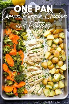 Healthy, EASY One Pan Chicken and Potatoes recipe! This Sheet Pan Chicken and Potatoes with lemon pepper seasoning is a quick, easy weeknight dinner idea! Weeknight Meals, Easy Meals, Easy To Make Dinners, Potato Dinner, Dinner Ideas With Potatoes, Dinner With Vegetables, Dinner Ideas With Chicken, Recipe Sheets, Grilled Chicken Recipes