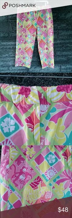 Vintage Lilly Pulitzer DiamondHead pants medium Pants feature a clip closure and belt loops. 2 rear pockets. Lilly Pulitzer Diamond Head pattern has monkeys, birds and flowers in whimsy colors. Waist has some stretch to it. Worn once, great condition. 97% cotton, 3% spandex . 33 inch waist, 22.5 inch inseam. Lilly Pulitzer Pants