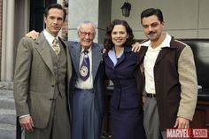 James D'Arcy (Jarvis), Stan Lee, Hayley Atwell (Agent Carter) & Dominic Cooper (Howard Stark) on set of Marvel's Agent Carter