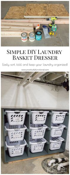 Build a simple laundry basket dresser to organize your laundry room, with a smooth top for folding and sorting!