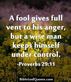 A fool gives full vent to his anger, but a wise man keeps himself under control. -Proverbs Good advice, even if it came from the bible. Bible Scriptures, Bible Quotes, Me Quotes, Anger Quotes, Scripture Verses, Quotes About Anger, Beauty Quotes, Crush Quotes, The Words