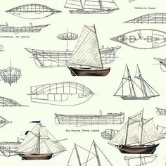 Pond Yachts Wallpaper in Ivory and Brown design by York Wallcoverings $48/roll at burkedecor.com