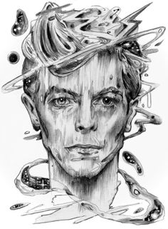 "artagainstsociety: "" Lazarus by Brian Serway "" David Bowie Starman, David Bowie Tribute, David Bowie Art, Glam Rock, Bowie Lazarus, Rock N Roll, Iman Bowie, Queen David Bowie, Wild Is The Wind"