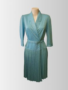 1970s Turquoise Day Dress from www.sixesandsevensvintage.com at £20.00  Size 12. Retro Vintage Dresses, Retro Dress, Day Dresses, Dresses For Sale, 1970s, Wrap Dress, Size 12, Turquoise, Fashion