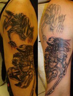 Aliens vs. Predator by ANTENAPUNK Predator Tattoo, Alien Vs Predator, Aliens, Deviantart, Portrait, Tattoos, Tatuajes, Portrait Illustration, Japanese Tattoos