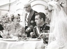 On April 19, 1956, Prince Rainier of Monaco and Miss Grace Kelly were married in a religious ceremony at Saint Nicholas Cathedral. Pictured with the bride and groom are her mother, Mrs. Margaret Kelly, and his father, Prince Pierre.Doses of Grace