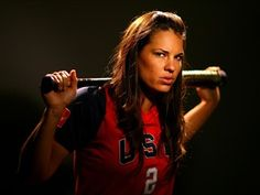 Softball player Jessica Mendoza poses for a portrait during the 2008 U. Olympic Team Media Summitt at the Palmer House Hilton on April 2008 in Chicago, Illinois. (Photo by: Al Bello/Getty Images) Espn Baseball, Marlins Baseball, Baseball Helmet, Baseball Live, Baseball Caps, Softball Rules, Girls Softball, Softball Players, Fastpitch Softball