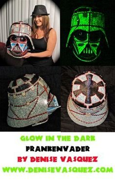 Artist Denise Vasquez WON FIRST PLACE in the Halloweencostumes.com Vader Helmet Contest for her Glow in the Dark FRANKENVADER she designed & created!