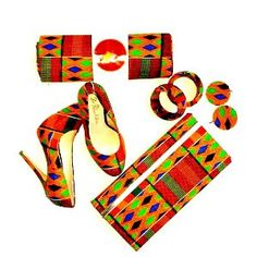 Kente Clutch Gift Set For Her, Kente Print Shoes, African Purse, African Earrings And African Bangle Gift Set by ZabbaDesigns on Etsy African Fashion Designers, African Dresses For Women, African Print Fashion, Africa Fashion, African Attire, African Women, African Prints, Style Africain, Gift Sets For Her