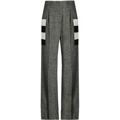 Max Mara Gitano trousers ($795) ❤ liked on Polyvore featuring pants, dark grey, dark gray pants, striped trousers, wool pants, herringbone pants and striped wide leg pants