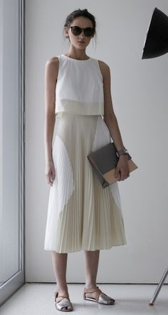 Proenza Schouler Pleated Poly Skirt Dress in White & Ecru