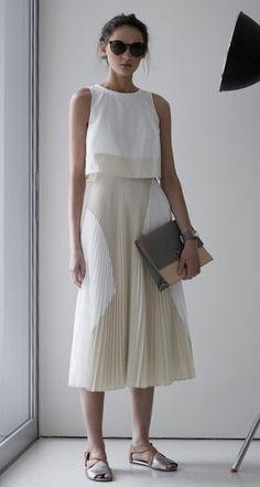 Proenza Schouler Pleated Poly Skirt Dress in White & Ecru