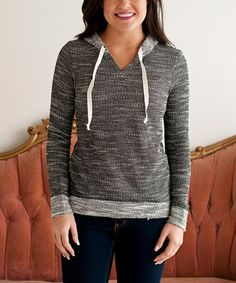 Take a look at this Black & White Variegated Hoodie on zulily today!