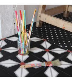 Carreau de ciment Hélium noir - Petit Pan - vivre en multicolore