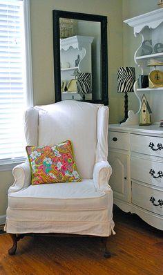 White Wing Chair Slipcover | The Slipcover Girl | Flickr