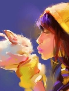 Girl Kissing a Bunny Wallpaper for HTC Phones