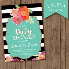 Baby Shower Invitation Black and White Stripe by LaLunaDesigns, $17.00