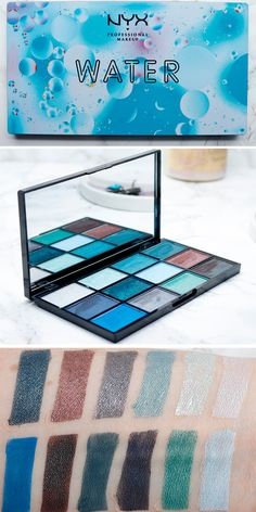 Nyx In Your Element Water Palette - Swatches on Pale Skin. Which element is right for you? I share my favorite of the Elements Palette series. Rave Makeup, Makeup Geek, Beauty Makeup, Nyx Palette, Makeup Palette, Makeup Brands, Best Makeup Products, Beauty Products, Looks Dark
