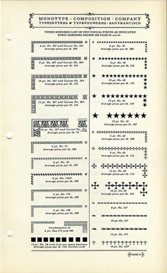 Monotype Borders Type Specimen by Dunwich Type, via Flickr