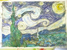 """We enjoyed another delightful Van Gogh Art Appreciation activity! We chose the """"Starry Night"""" and I used the image on christineparkdesign.com because we could zoom in and really look at…"""