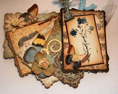 Vintage Botanical's and Butterflies mini scrapbook album   Shabby Beautiful Scrapbooking