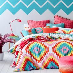With bright bursts of colour and a strikingly unique combination of geometric shapes, the Zizi quilt cover from our exclusive teen range – Ruckus, will create a vibrant and visually spectacular look in any bedroom. A fun and quirky reverse print of colourful pineapples provides an alternate look for those who dare to be different. Mix and match with cushions and fun Text pillowcases also available in the Ruckus range.