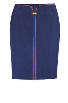 м-290/синяя Модель силуэта карандаш с модным эффектом двойной юбки со стороны | Юбки