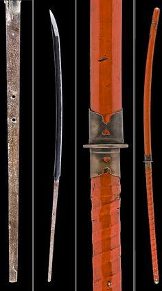 Nagamaki by Kanabo Masatsugu, Muromachi period, 16th century. The nagamaki: Sugata (configuration): nagamakizukuri, iorimune with a very broad shinogi and a very long kissaki. Nagasa (length from tip to beginning of tang): 38 5/8in (98.1cm), kissaki 6 3/8in (16.2cm), Motohaba (width at start of tempered edge): 1 1/2in (3.8cm), Sakihaba (width before tip): 1 1/2in (3.8cm). 16th century koshirae.